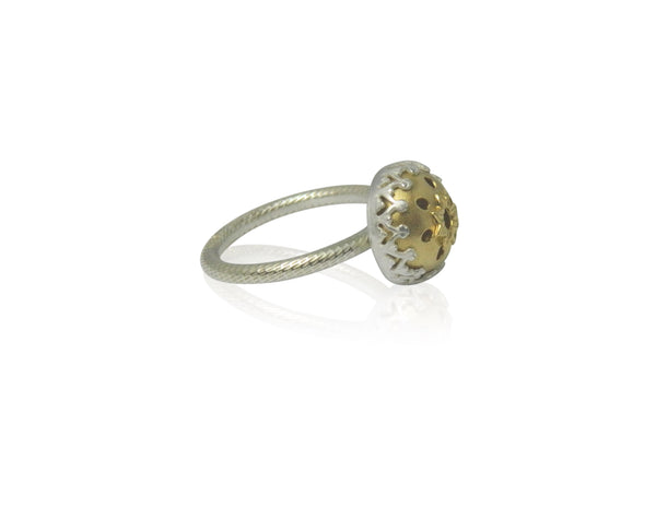 Domed floral small ring