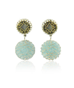 Double drop ice blue earrings