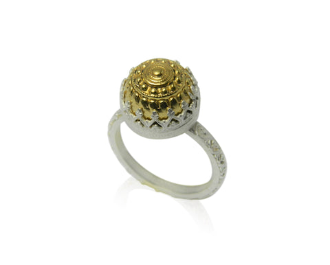 Domed filigree ring