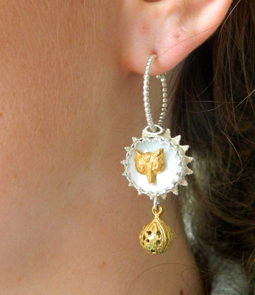 Double drop fox earrings