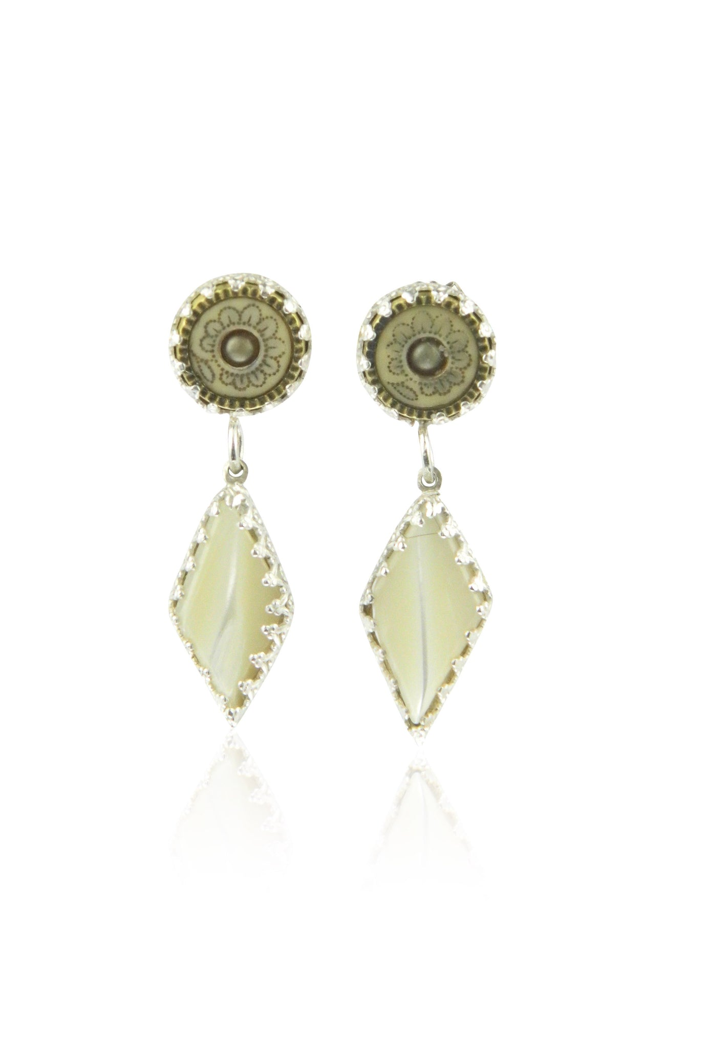 Diamond mother of pearl double drop earrings