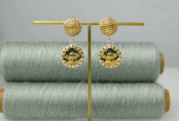 Pagoda double drop earrings