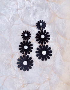 BLACK DAISY DROP EARRINGS