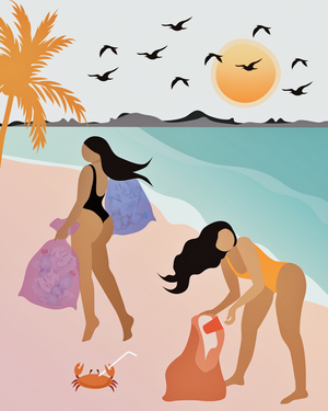 "BEACH HOTTIES ART PRINT 8"" x 10"" NO FRAME"