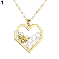 Necklace heart honeycomb bee animal pendant hearts town necklace heart honeycomb bee animal pendant mozeypictures Images