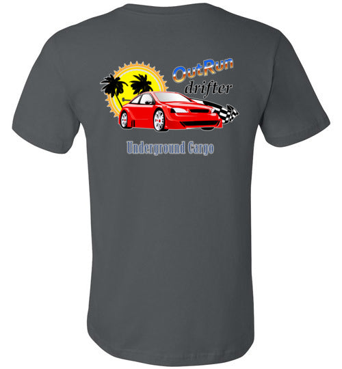 Outrun Drifter Back Print - Canvas T-Shirt