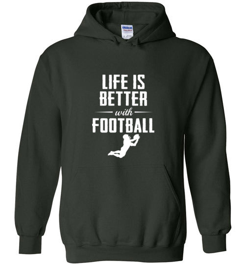 Life is Better with Football - Gildan Heavy Blend Hoodie