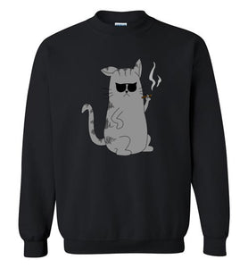 Cool Cat Cigar Smoker - Gildan Crewneck Sweatshirt