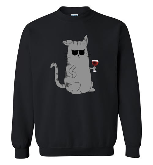 Cool Cat Wine Connoisseur - Gildan Crewneck Sweatshirt