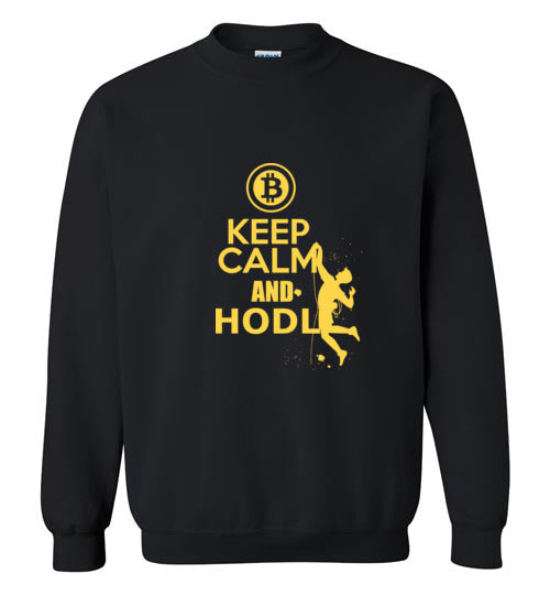 Bitcoin Keep Calm HODL - Gildan Crewneck Sweatshirt