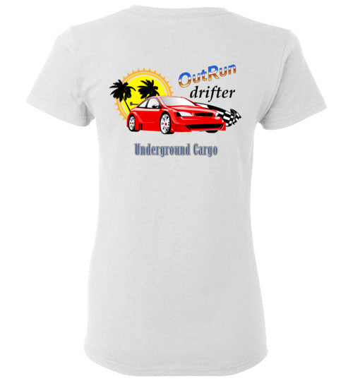 Outrun Drifter Back Print - Gildan Ladies Short-Sleeve T-Shirt
