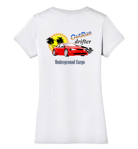 Outrun Drifter Back Print - Ladies V-Neck