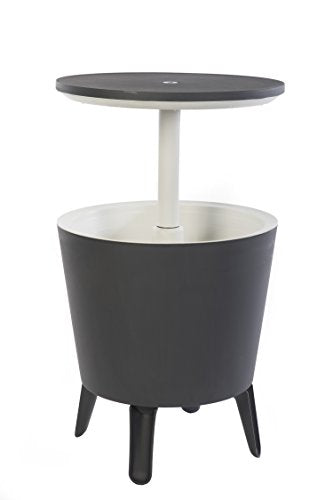 Keter 7.5-Gal Cool Bar Modern Smooth Style with Legs Outdoor Patio Pool Cooler Table, Grey