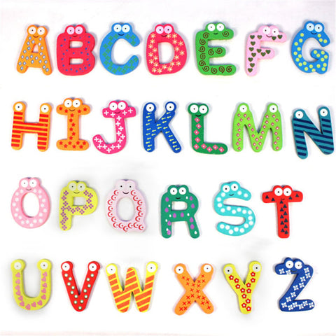 Kids Toys 26pcs/set Wooden Cartoon Alphabet ABC~XYZ Magnets