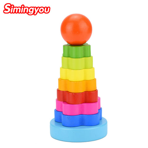 Toy Wooden Puzzle Stacking Ring Tower