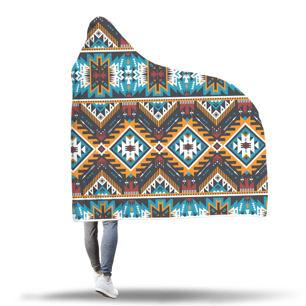 Native Tribe Inspired Hooded Blanket