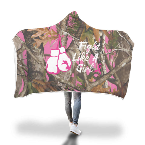 Image of Amazing Fight Like A Girl - Breast Cancer Awareness Hooded Blanket
