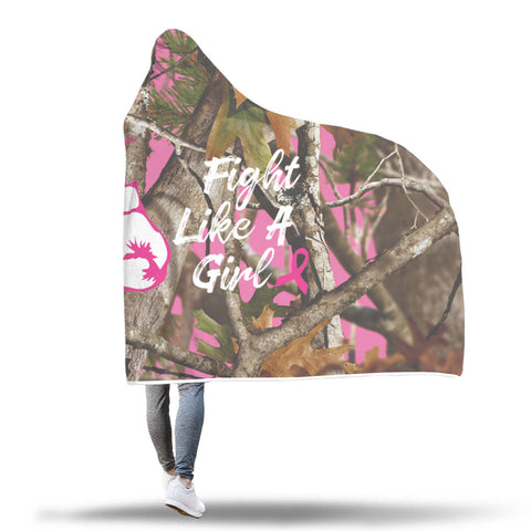 Amazing Fight Like A Girl - Breast Cancer Awareness Hooded Blanket