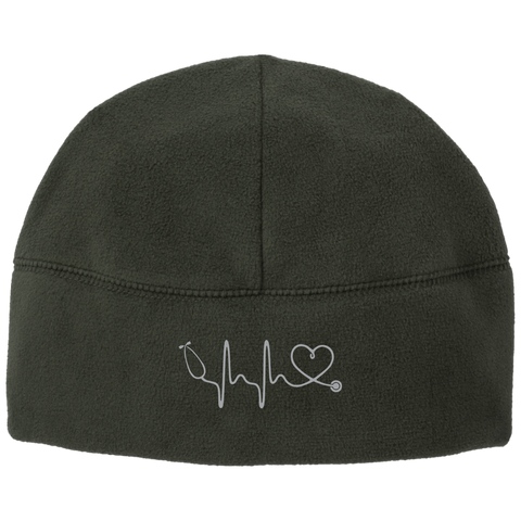 Image of Amazing Nurse/Doctor Heart Embroidered Fleece Beanie