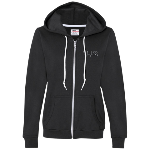 Image of Amazing Nurse/Doctor Heart Ladies Embroidered Full-Zip Hooded Fleece