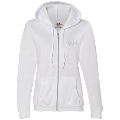 Amazing Nurse/Doctor Heart Ladies Embroidered Full-Zip Hooded Fleece