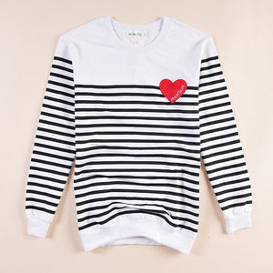 "Couple Sweatshirt ""Heart"" - Striped"
