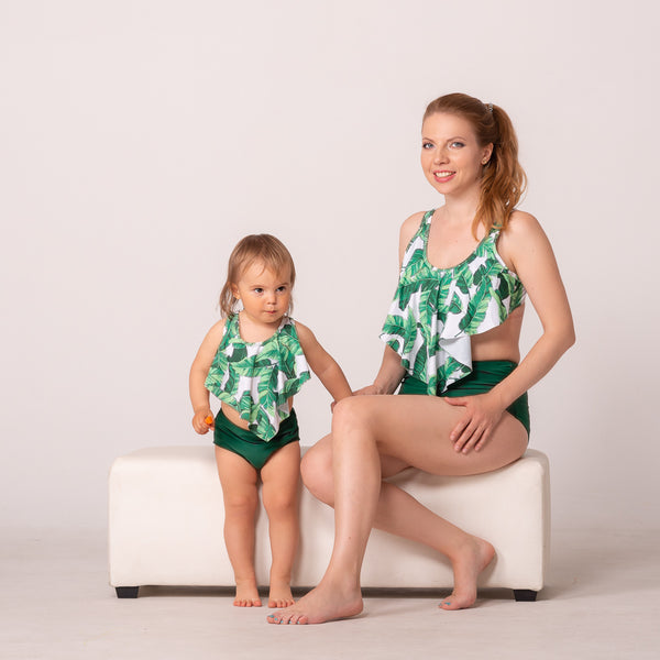 "Mommy & Me Swimsuit ""Green Exotic"""