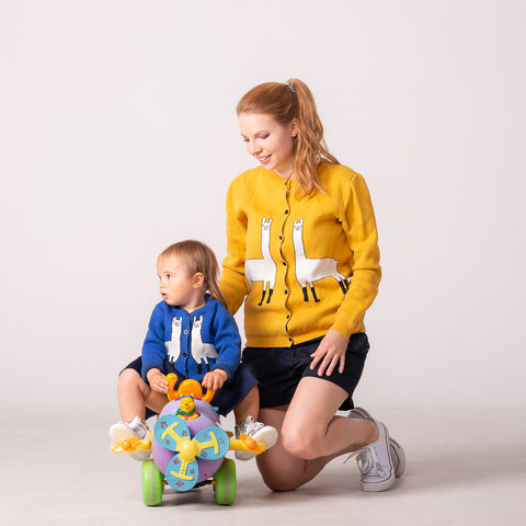 "Mommy and Me Cardigan ""Llama"""