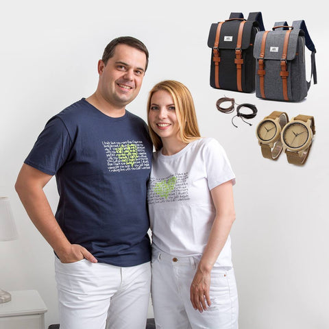 "Couple T-Shirt ""Green Hearts"""