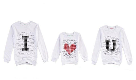 "Family Sweatshirt ""I Love U"""