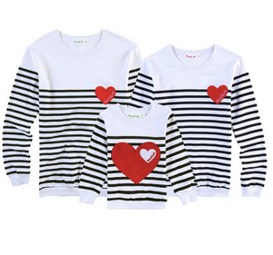 "Family Sweatshirt ""Family Heart"" - Striped"