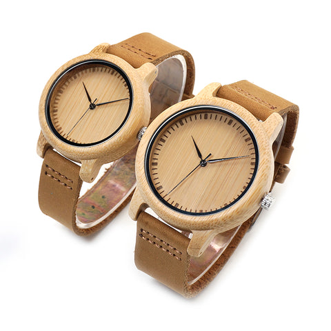 Couple Watch - Bamboo with Leather Strap