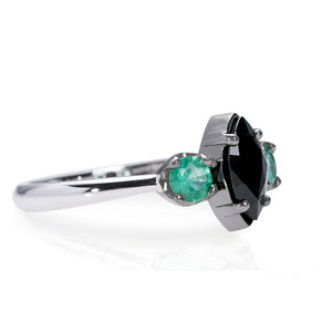 Sterling Silver Stacking Sapphire and Emerald Ring