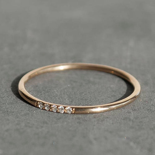 14K Gold Stackable Eternity 5 Diamond Ring