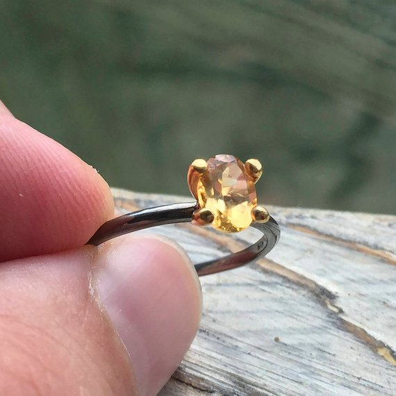 Rhodium Plated Citrine Ring with Gold Setting
