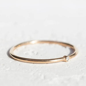 14K Gold Stackable Dainty Diamond Ring