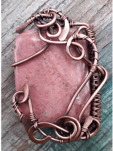 Pink Square Rhodonite Wire Wrap Pendent