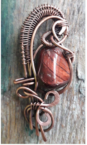 Red Tiger Eye Wire Wrap Necklace
