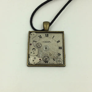 Square Watch face Steampunk Necklace