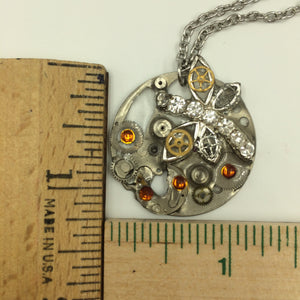 Little Dragonfly on the Calendar Mechanism Steampunk Necklace