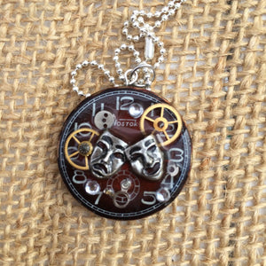 Theater Mask Steampunk Necklace