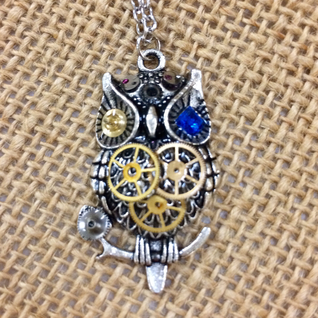 Steampunk Small Owl Necklace