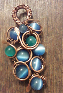 Blue Cat Eye Bead Necklace
