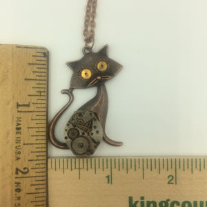 Steampunk Kitty Cat Necklace