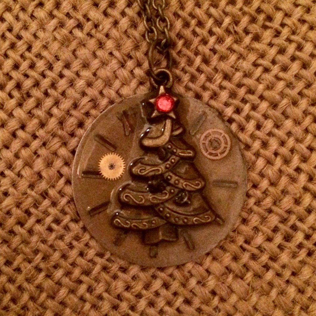 Christmas Tree Steampunk Necklace
