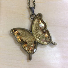 Clear Butterfly Steampunk Necklace