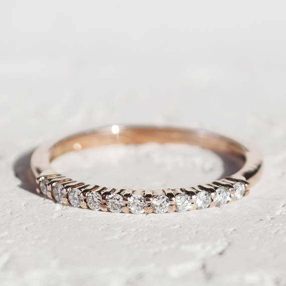 14K Gold Stackable Eternity Diamond Ring