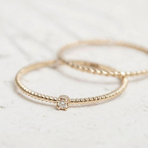 14K Gold Stackable Rope Diamond Ring
