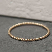 14K Gold Stackable Dainty Rope Ring