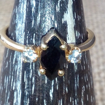 Sterling Silver Stacking Black and White Sapphire Ring